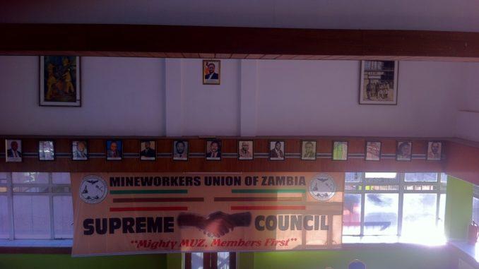 Mineworkers Union of Zambia (MUZ) main chamber at the mine's headquarters, Katilungu House, Kitwe, Copperbelt. Photo, Robby Kapesa (2020)